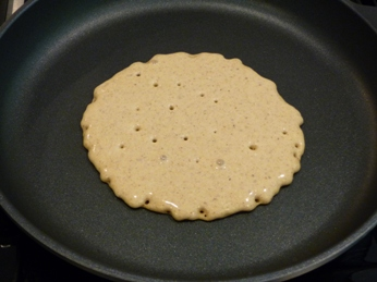 Gluten Free Vegan Buckwheat Pancake Cooking in Skillet