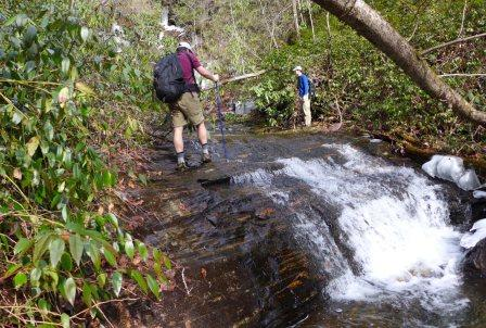 Making our way upstream to the base of Kuykendall Falls