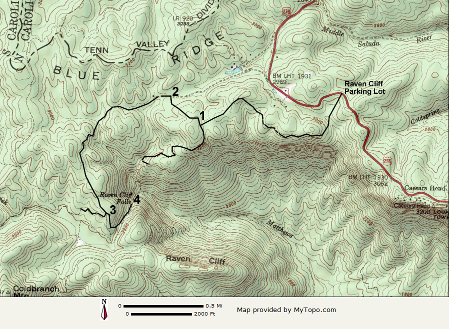 Raven Cliff Falls Trail - Where to get topo maps for hiking